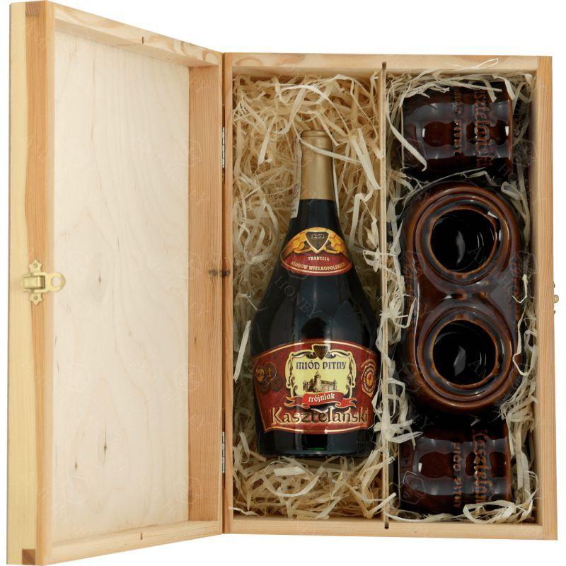 Zdjęcie produktu Zestaw Trójniak Kasztelański w drewnianej skrzynce 750 ml