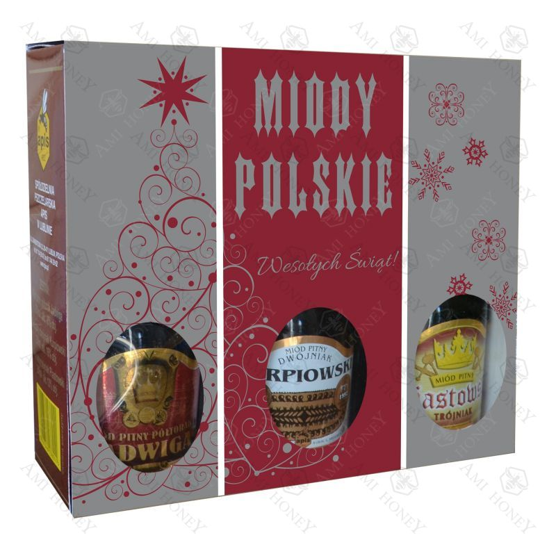 """Zdjęcie produktu Zestaw """"Miody Polskie"""" Edycja Świąteczna 3 x 250 ml"""